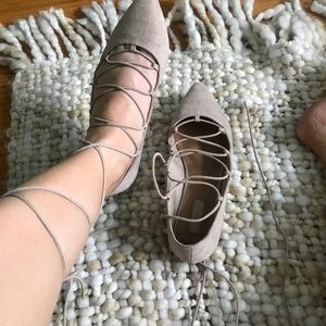 Nude flats lace up